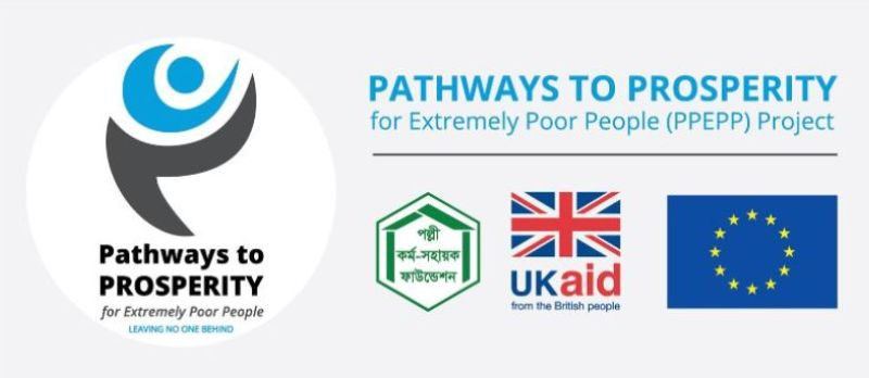 Prosperity project logo with PKSF, UK aid and EU logo