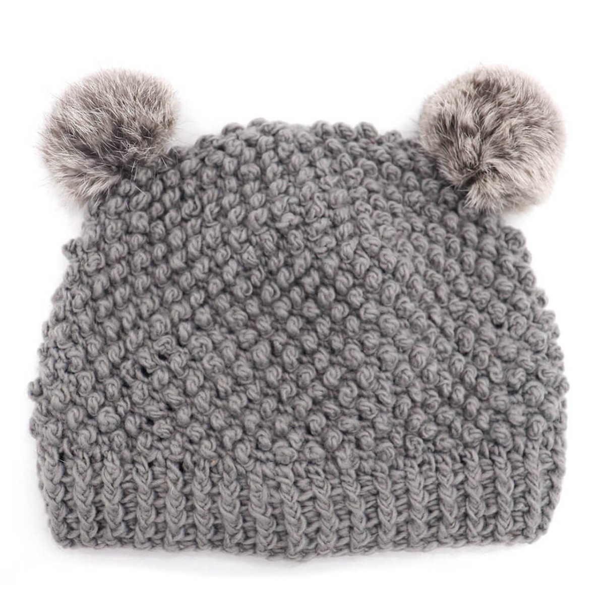 Children's Popcorn Beanie with Rabbit Fur Poms