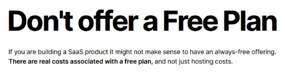 No Free Plan