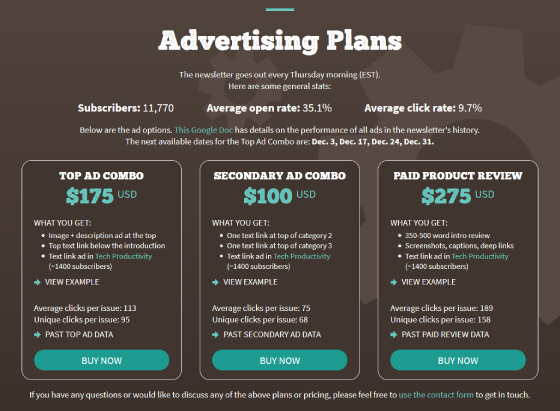 Web Tools Weekly Ad Plans