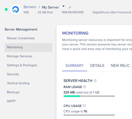 Cloudways' server options