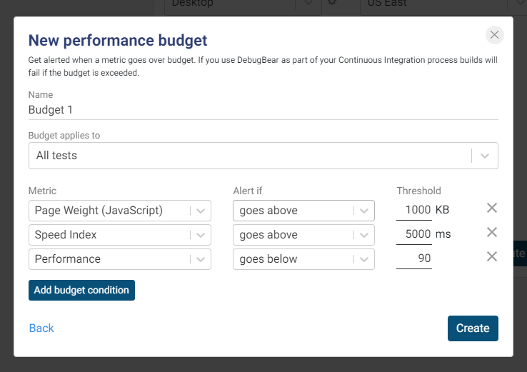 Setting up a Performance Budget in DebugBear