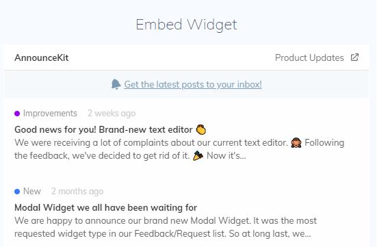 AnnounceKit's Embed Widget