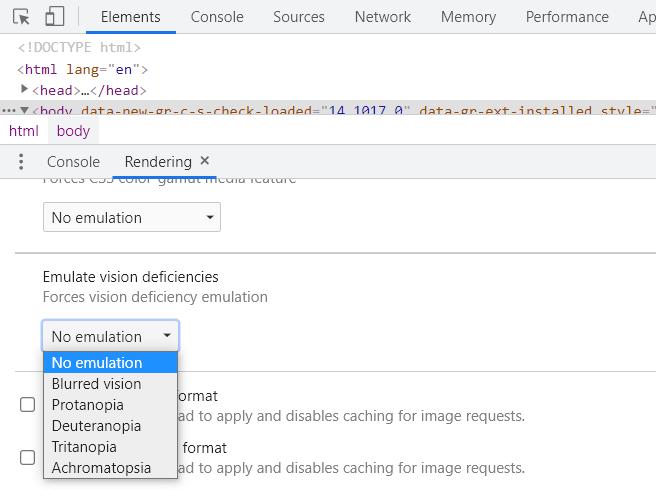 Emulating Vision Deficiencies in Chrome's DevTools