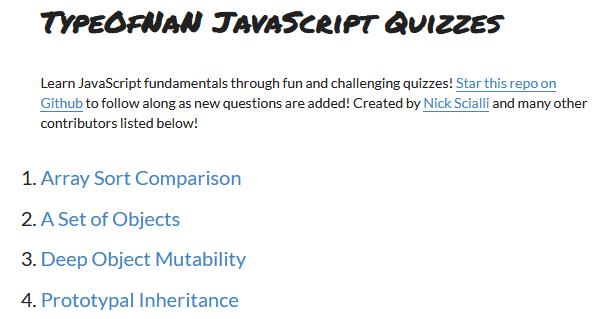 TypeOfNan JavaScript Quizzes