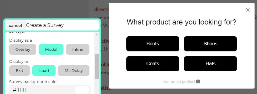 Configuring a modal survey