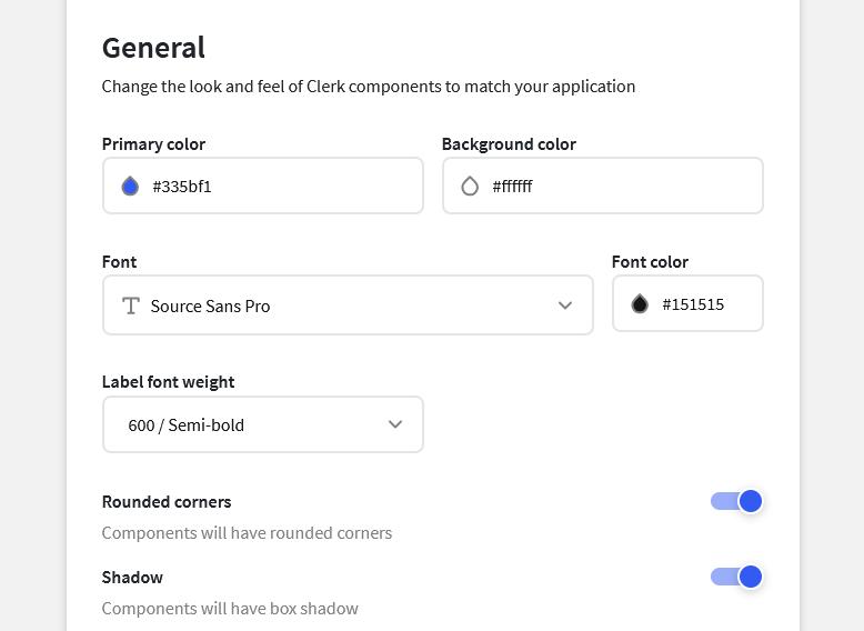Clerk's Theme Customization settings