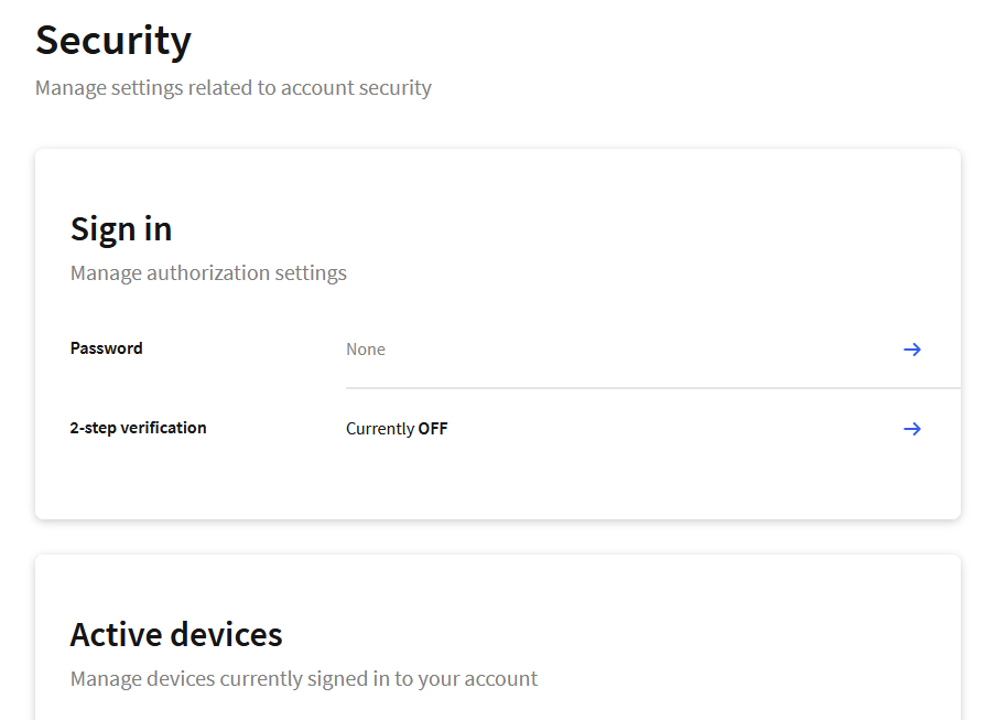 Clerk's User Security Settings