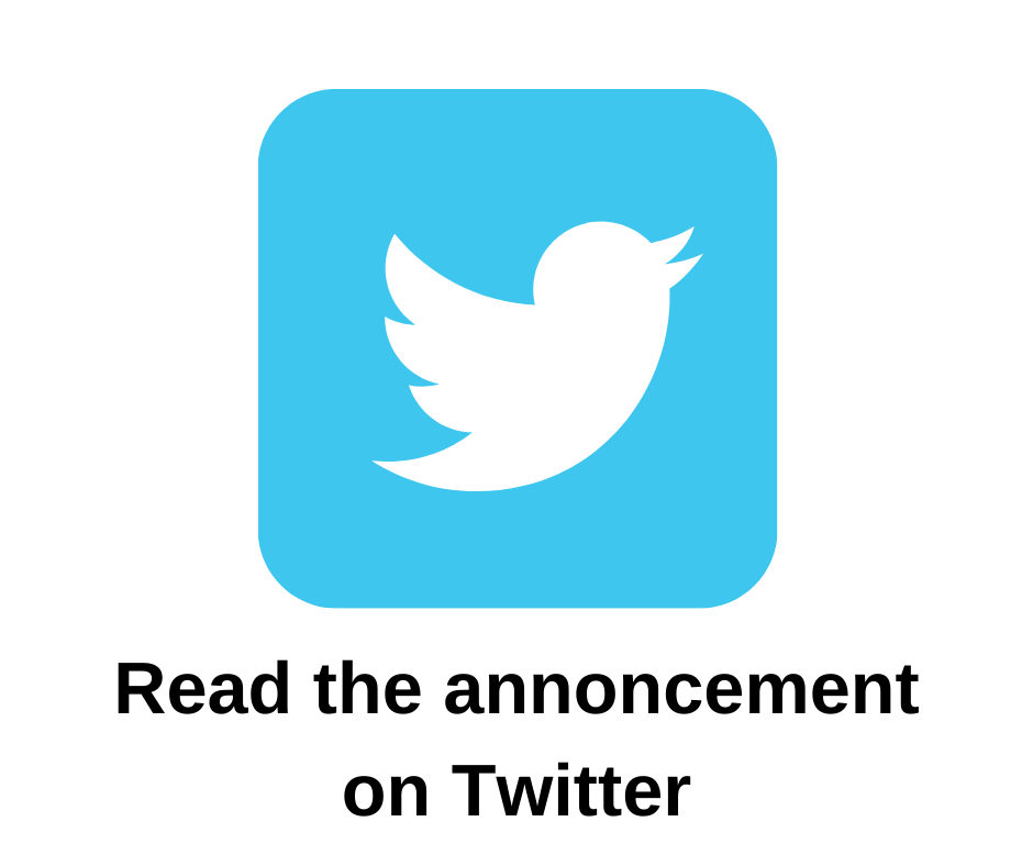 Image of Twitter icon. Click here to read the announcement on Twitter.