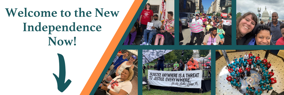 "Email header featuring a collage of photos of the Independence Now community and text that states ""Welcome to the New Independence Now"" with an arrow pointing downward to the email body."