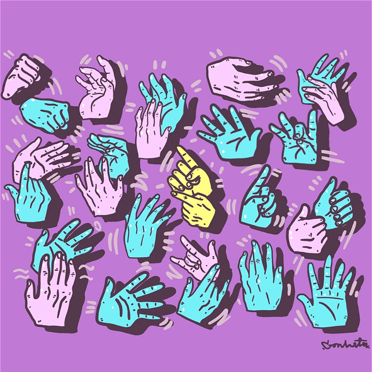 a graphic of hands making AUSLAN signs on a purple background