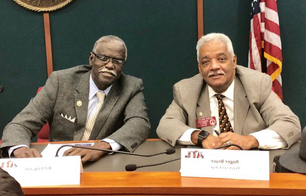 "Protest organizers accuse State Representative Roger Bruce (l.) of writing legislation to tip the balance of power on South Fulton's City Council in favor of his old Morehouse College classmate, aaccused South Fulton Mayor William ""Bill"" Edwards."