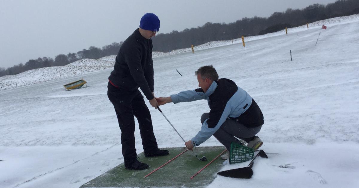 golf in snow