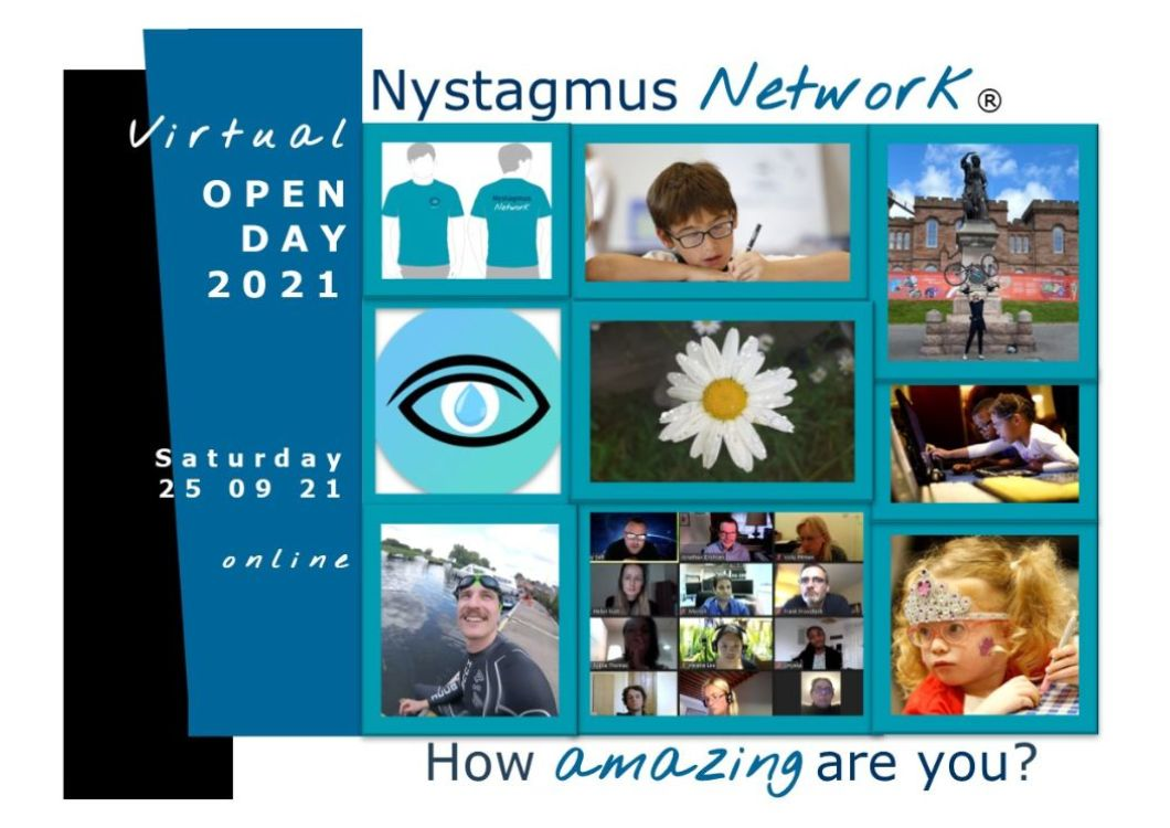 A postcard promoting the Nystagmus Network virtual Open Day on Saturday 21 September.
