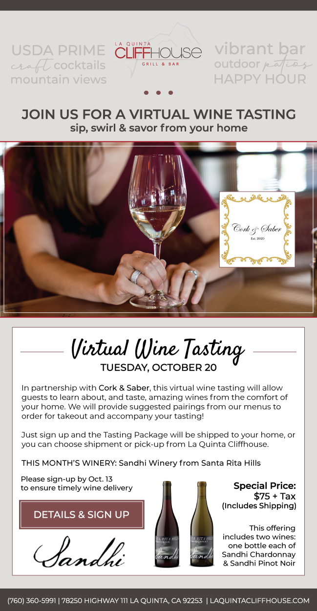 Join Us for a Virtual Wine Tasting from Your Home at the La Quinta Cliffhouse
