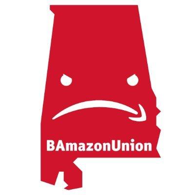 "Graphic of Alabama with Amazon smile upside down and words ""BamazonUnion"""