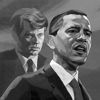 B&W graphic of Barack Obama with JFK in the background
