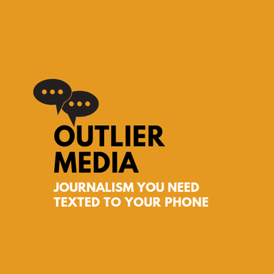 """Yellow background with text box and words """"Outlier Media"""""""