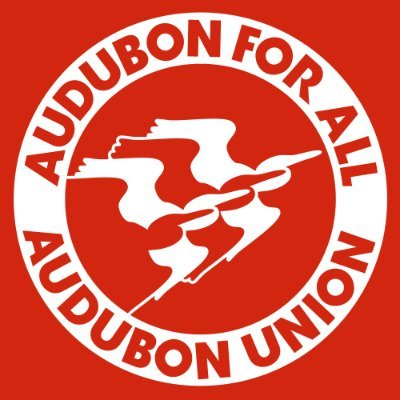 """graphic of white and red birds against a red background with a circle around them that reads """"Audubon for all Audubon Union"""""""