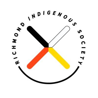 Richmond indigenous society with logo graphic: X shape in black, white, yellow, and red