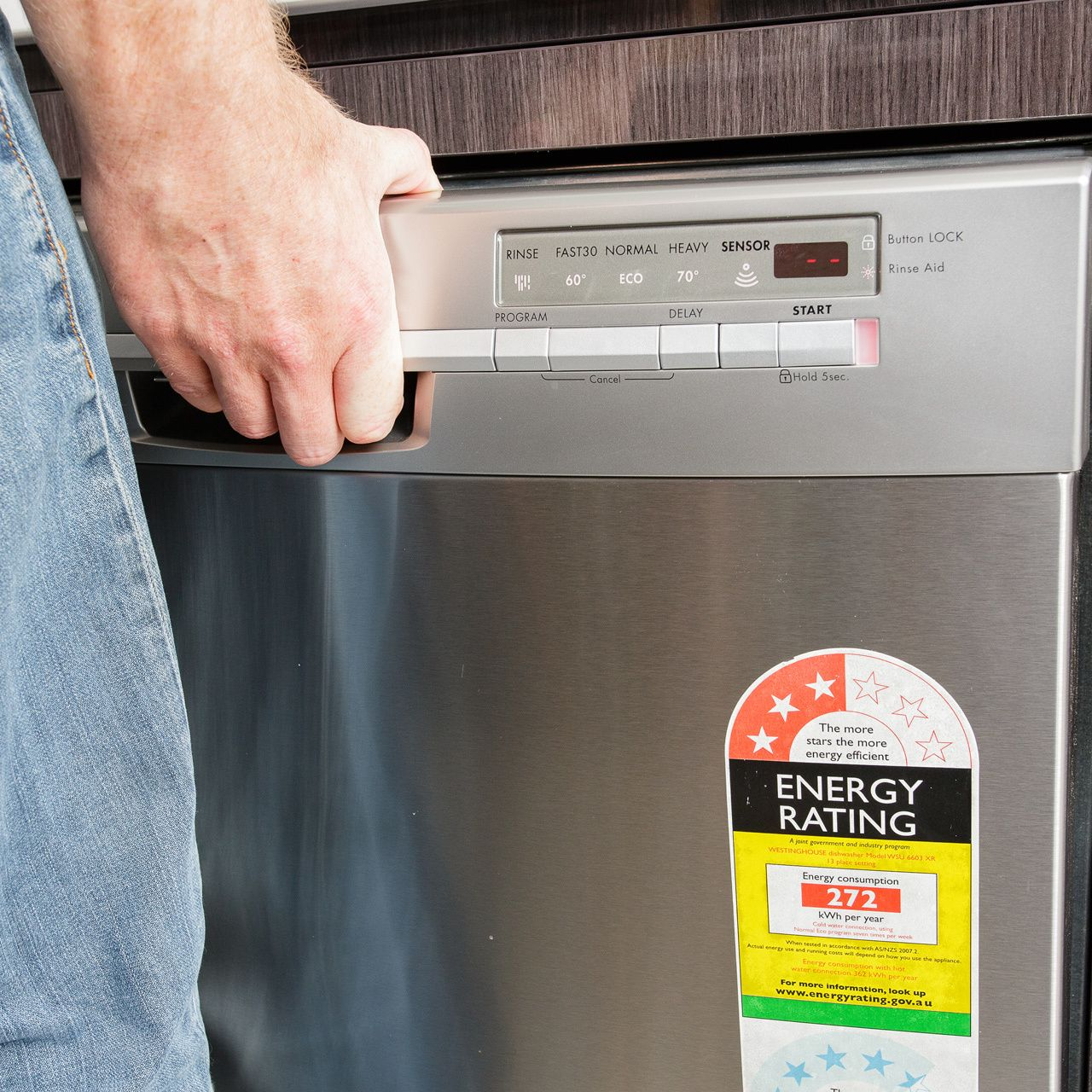dishwasher with an energy rating label