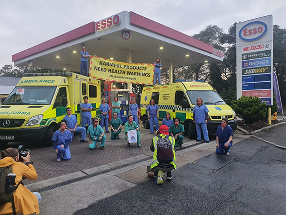 Doctors Spark Mass Flyposting of Petrol Pumps With Graphic Health Warning