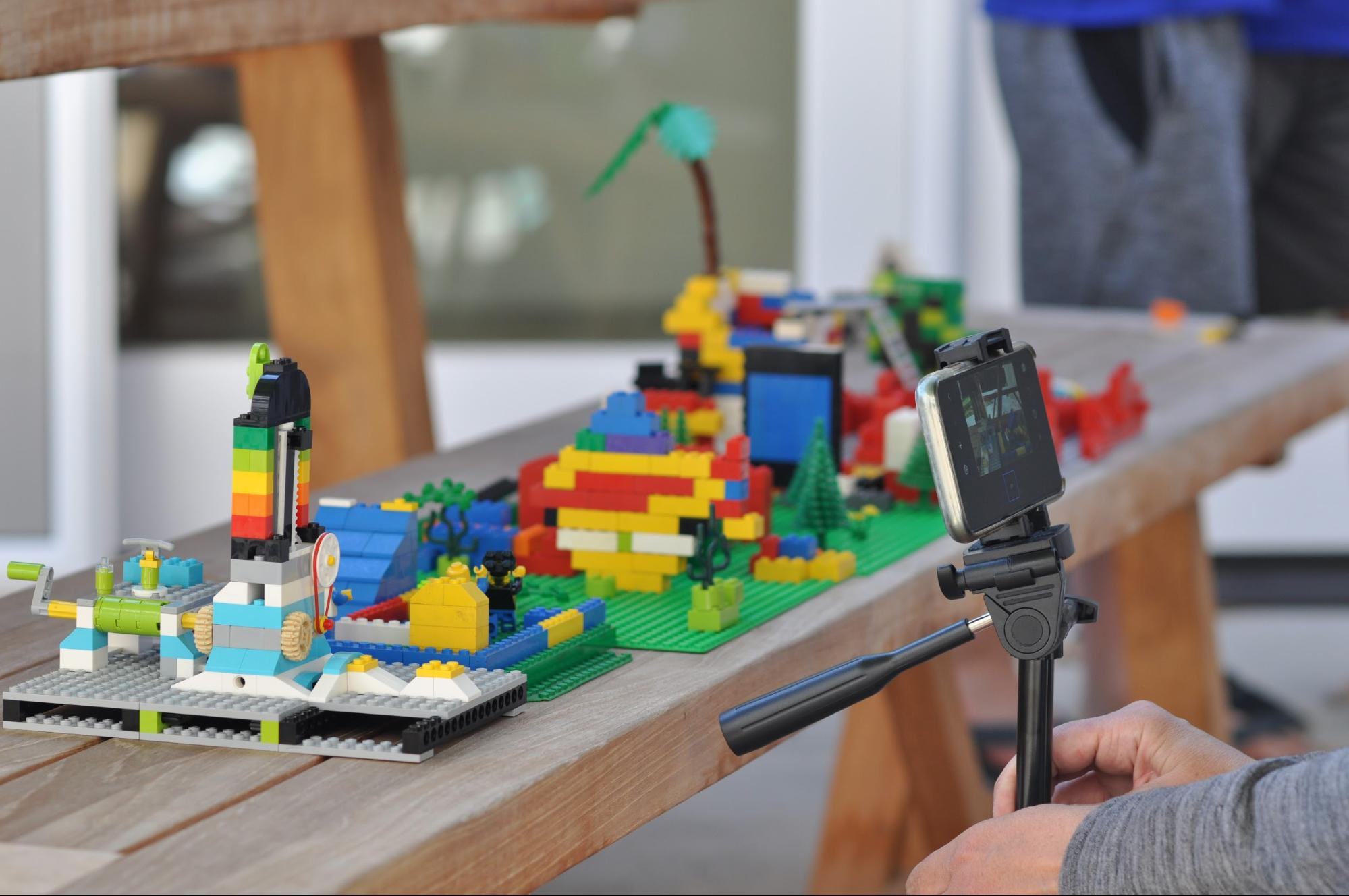 picture of lego stop motion setup