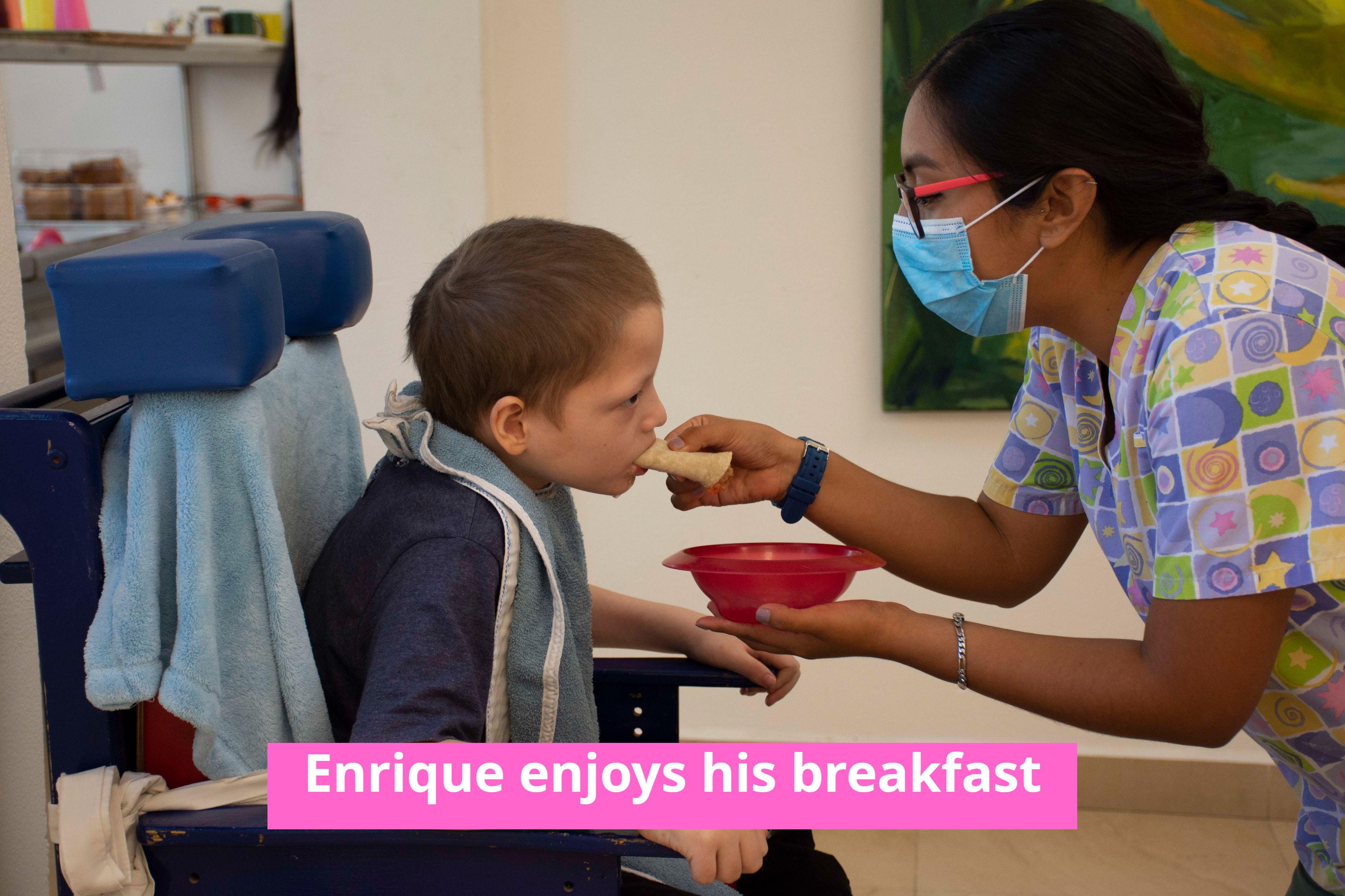 Enrique enjoying his breakfast