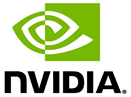 Consta logotipo da NVIDIA em branco e verde com nvidia embaixo e um ponto final