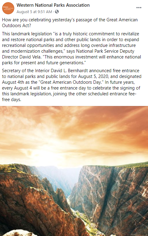 Passage of the Great American Outdoors Act