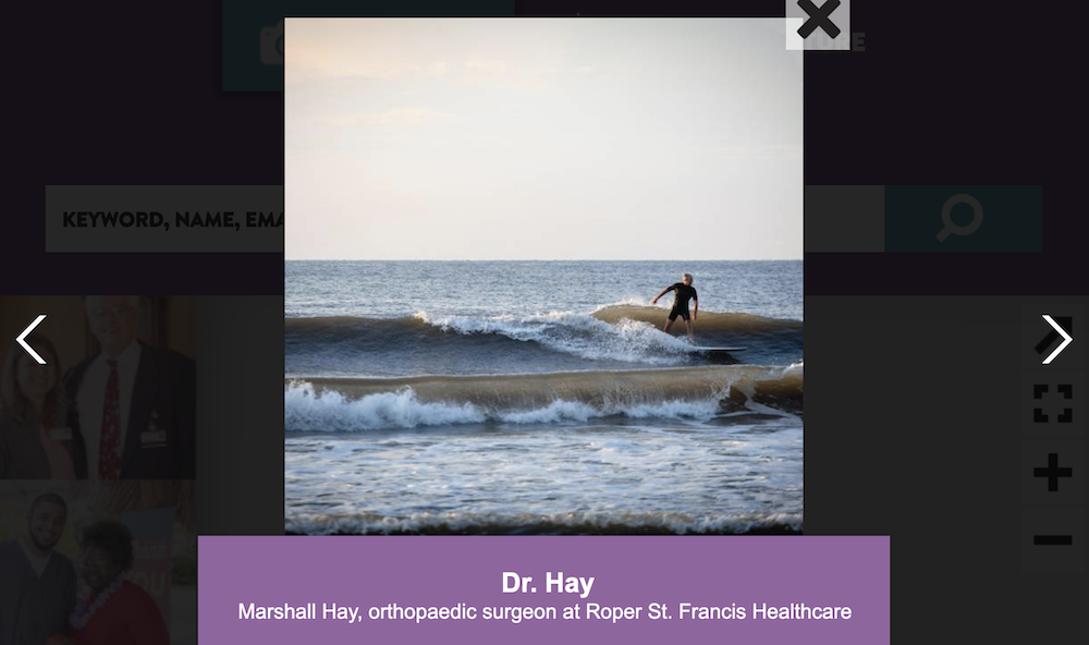 Dr. Hay, an orthopedic surgeon at Roper St. Francis Healthcare, surfs in his personal time.