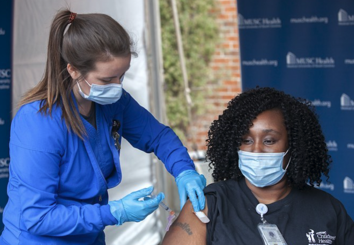 MUSC Health staff began receiving the COVID-19 vaccine in mid-December | Photo via @MUSChealth