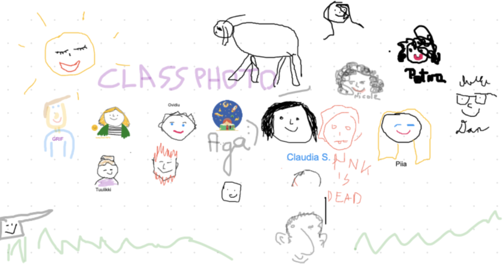 """A virtual """"class photo"""" showing a collection of digital drawings of smiling faces, a sun, and a 4-legged animal."""