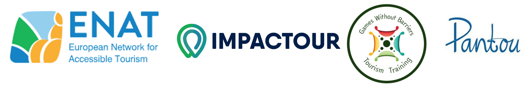 logos of ENAT, IMPACTOUR, Games Without Barriers and Pantou