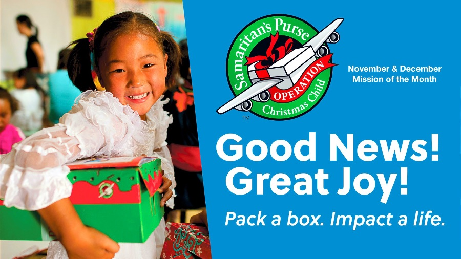 OPERATION CHRISTMAS CHILD GIRL WITH BOX