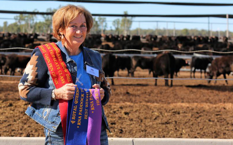 Dyan Hughes from Wentworth Cattle Co with Wagyu F1 steers which dominated the weight gain phase in the Wagyu Challenge section of this year's RNA Paddock to Palate competition.