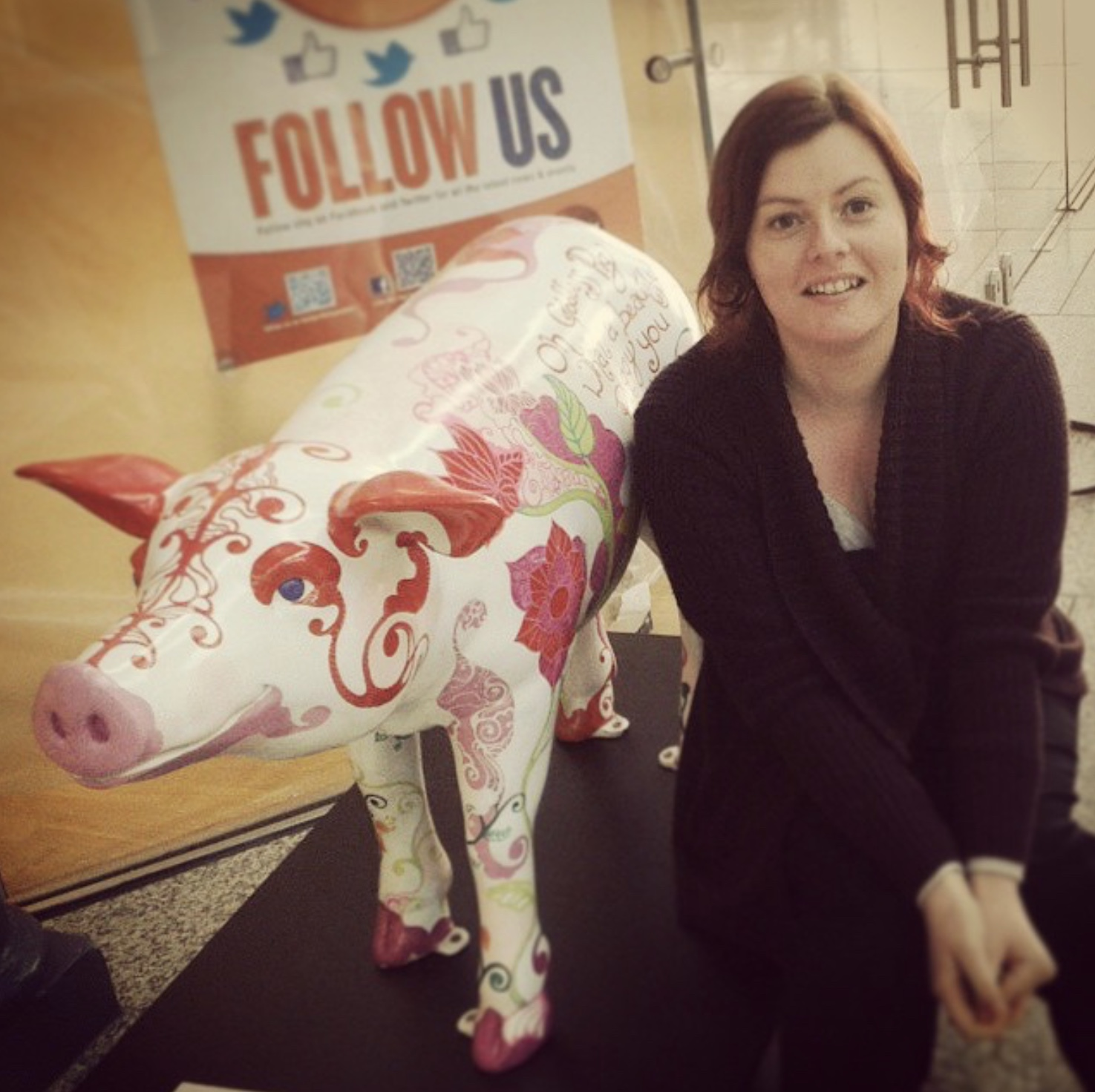 Sophie with Goddess Pig at the CHQ Building in Dublin.