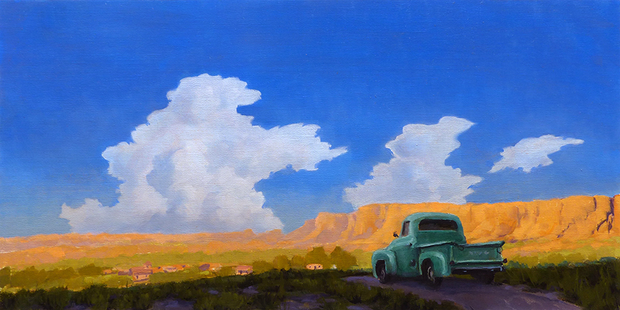 """""""Mora Valley Twilight"""" historice, church, Mora river, New Mexico,   copyright Michael Baum 
