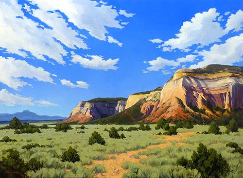 """Echo Cliffs"" colorful cliffs, Abiquiu, Ghost Ranch, New Mexico,   copyright Michael Baum | Original landscape paintings of Colorado and the Southwest"