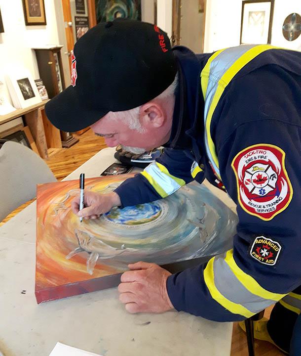 Firefighter signing mandala