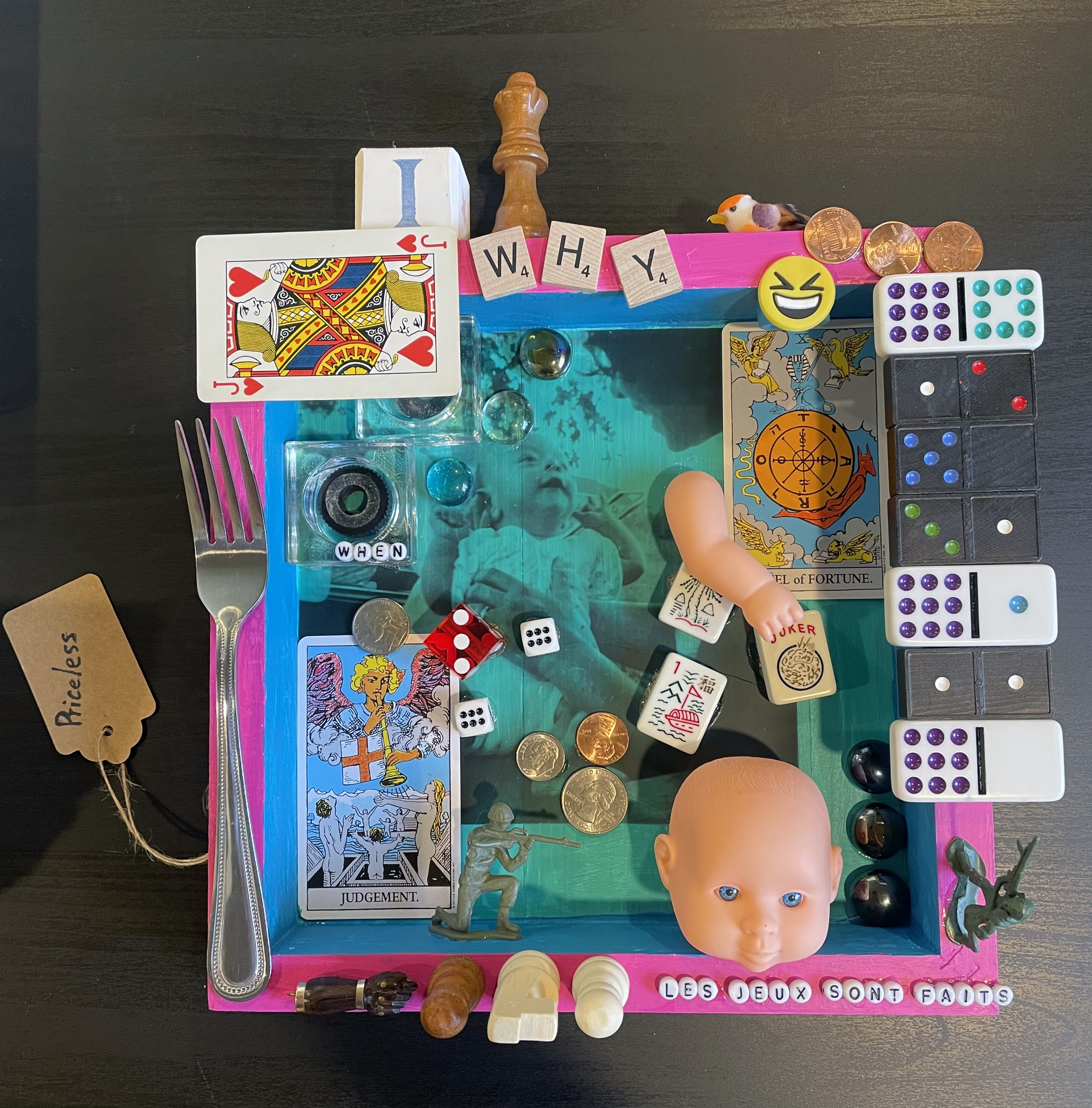 """Evan Stuart Marshall, Life is a Game, 2021, assemblage, 12"""" x 12"""" x 3"""""""