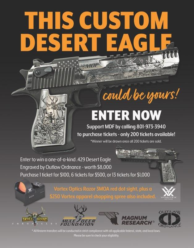 Support MDF - Enter to win a one-of-a-kind .429 Desert Eagle Engraved by Outlaw Ordnance