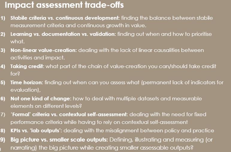 Impact assessment trade-offs