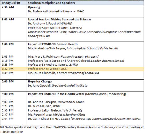 An image capturing the session schedule