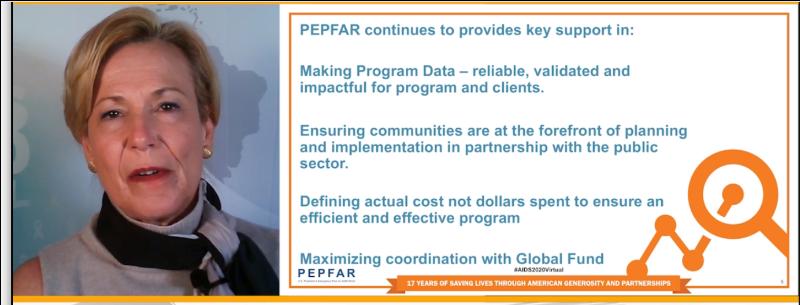 Image of Dr. Deborah Birx, Global AIDS Ambassador and Head of PEPFAR, alongside one of her slides