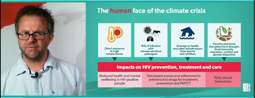 image of Matthew Chersich and his slide showing climate impacts on HIV