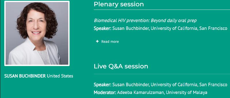 screen shot of Susan Buchbinder and her plenary details