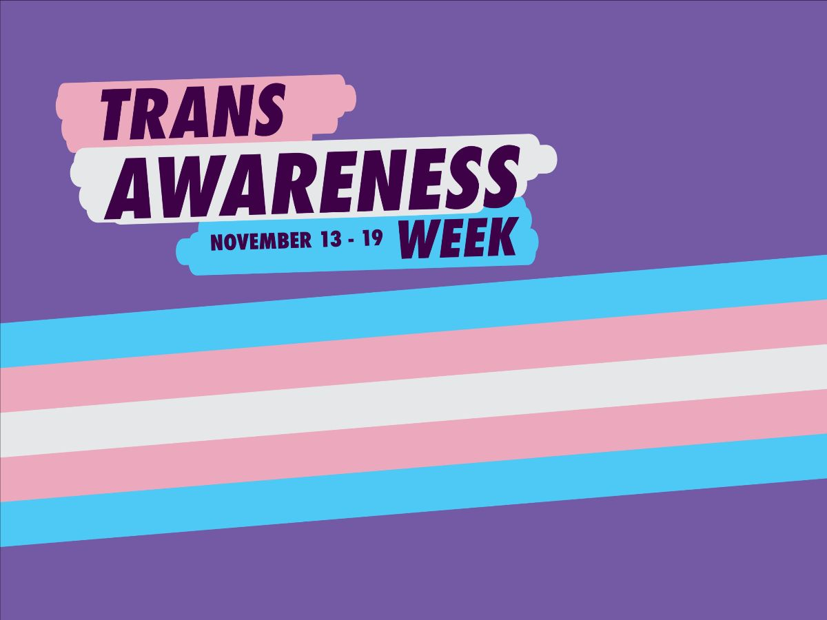 graphic image with trans flag and purple background that says trans awareness week 13-19 november