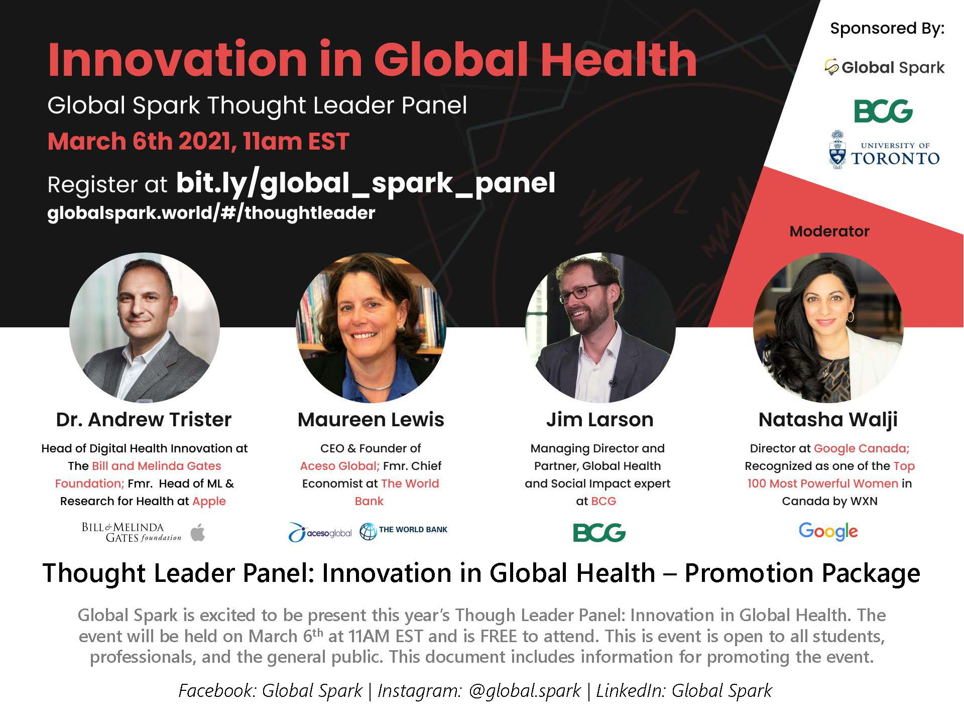 FREE! Global Spark Thought Leader Panel: Innovation in Global Health