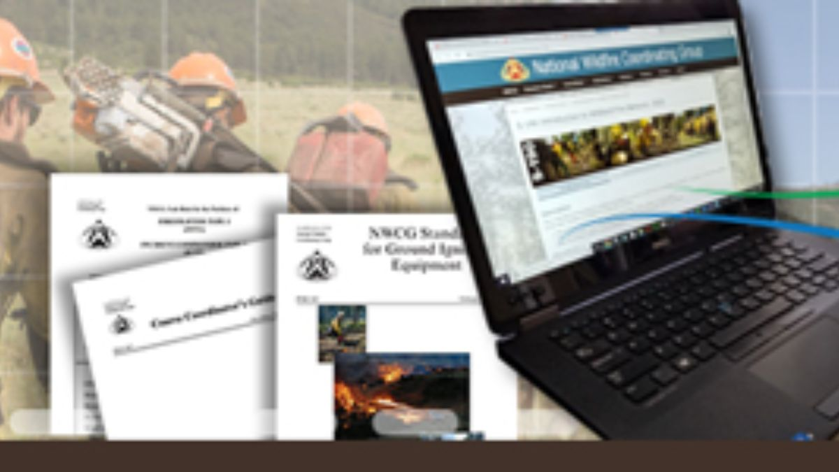 Image of open computer overlaid on image of firefighters and documents